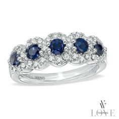 Vera Wang LOVE Collection Blue Sapphire and 3/8 CT. T.W. Diamond Five Stone Frame Ring in 14K White Gold - View All Rings - Zales