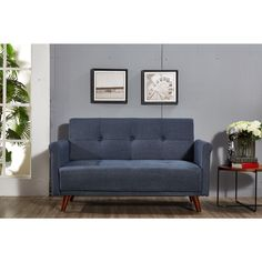 Shop for Armen Living Monroe Convertible Mid Century Grey Futon Get