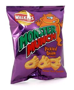 Walkers Monster Munch Pickled Onion - 6 Pack: Walkers Monster Munch are Pickled onion flavor baked corn snacks. Available in a 6 pack, these savory snacks are imported from the UK. Pickled Onion Crisps, Pickled Onions, Corn Snacks, Savory Snacks, Walkers Crisps, English Tea Store, Real Food Recipes, Snack Recipes, Monster Munch