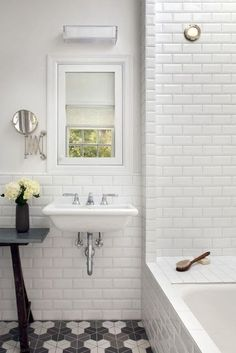 white subway tiles bathroom
