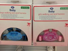 Boys are 'train drivers' and girls are 'cupcakes' according to Boots baby harnesses.   Gender stereotypes start as early as the baby registry.