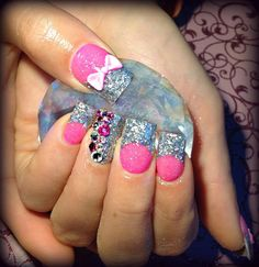 Barbie nails with bows