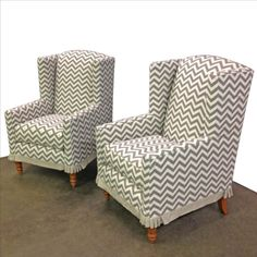 Modern Wingback Chairs   We Love The Traditional Legs Paired With A  Contemporary Chevron And How