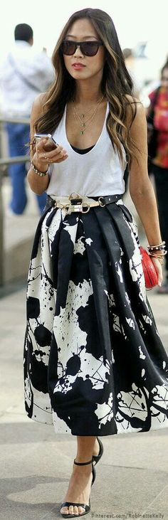 Black and white splatter skirt