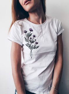 Embroidered t shirt, Grey t shirt, Flower tee, Hand embroidery, embroidered shirt, embroidered tee, Floral embroidery, gift for her