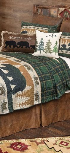 Bear Adventure Cabin Bedding | Vivid green plaid gives a cozy feel to this lightweight microfiber bedding featuring bands of bears and pinecones, for a warm and woodsy addition to your room. Sets include quilt and two shams. Comforters, Blanket, Bed, Home, Creature Comforts, Quilts, Stream Bed, Ad Home, Blankets
