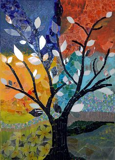 Stained glass mosaic art, Mosaic picture, Wall art, Mixed media, home decor, Mosaic glass picture, home decoration - The glowing tree