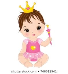 Vector cute little baby girl dressed as princess. Vector little baby girl with magic wand.