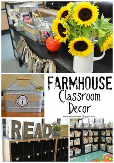 Farmhouse Style Classroom Decor: galvanized metal, farmhouse classroom library, farmhouse student mailboxes, fixer upper style classroom, teacher desk makeover, classroom organization, and more