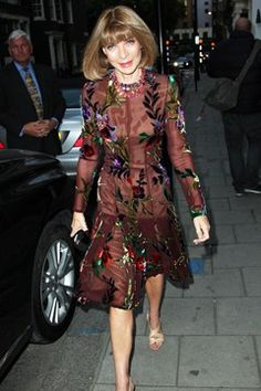To co-host a President Barack Obama fundraiser with Gwyneth Paltrow and Tom Ford, Anna Wintour wore a floral hand-painted dress by the designer, accessorised with nude shoes and a clutch.