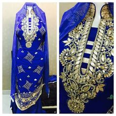 Royal blue suit with embroidery