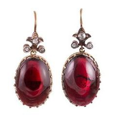 View this item and discover similar for sale at - Lovely cabochon garnet earrings, topped with a flour-de-lys shaped finial and decorated with rose cut diamonds. These earrings are beautiful from every Garnet Jewelry, Garnet Earrings, Red Jewelry, Red Earrings, Gemstone Earrings, Diamond Earrings, Fine Jewelry, Diamond Jewellery, Jewellery Box