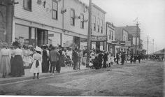 The South side of Ross St, looking west from Gaetz Ave, 1910 Red Deer, AB
