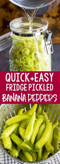 Quick Pickled Banana Peppers are fast and delicious! Skip the store and make your own zesty banana peppers at home with this easy peasy refrigerator pickled pepper recipe. Recipes to try Recipes With Banana Peppers, Stuffed Banana Peppers, Banana Pepper Recipes, Pickled Pepper Recipe, Refrigerator Pickled Banana Peppers Recipe, Pickling Banana Peppers, Refrigerator Pickles, Veggie Recipes, Healthy Recipes