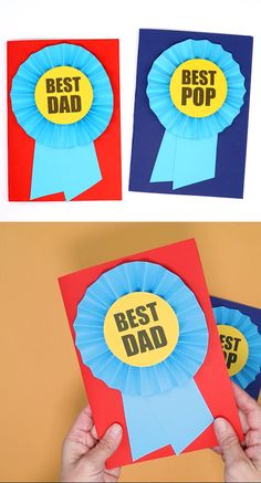 Make Dad a prize ribbon card for being so awesome this fathers day. This printable template makes it quick and easy and there is space to write the top 5 reasons why your Dad is so awesome on the inside day crafts Best Dad Prize Ribbon Card Fathers Day Art, Easy Fathers Day Craft, Diy Gifts For Dad, Fathers Day Ideas, Diy Father's Day Gifts Easy, Best Dad Gifts, Father's Day Card Template, Ideas Decoracion Cumpleaños, Fathersday Crafts