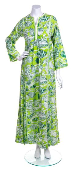 A Lilly Pulitzer Green and White Floor Length Caftan, Size S.