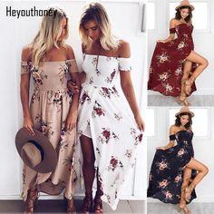 XS-5XL 7 Colors Off Shoulder Women Summer Beach Long Dress Vintage Floral Print Beach Maxi chiffon Oversized Vestido Plus Size