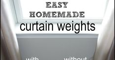 Do your curtains drape poorly? Make these easy and inexpensive DIY curtain weights to help your curtains drape perfectly. Homemade Curtains, Curtain Fabric, Drapes Curtains, Drapery, Hanging Drapes, Hanging Curtain Rods, Outside Curtains, Old End Tables, Shades Of Grey Paint