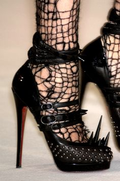 A Well Changed Woman Expensive Punk: Christian Louboutin for Rodarte FW 2008 Black Suede Lace Up Elsa Ankle Boots by Sam Edelman Stilettos, High Heels, Black Heels, Christian Louboutin, Louboutin Shoes, Punk Fashion, Gothic Fashion, Fashion 2016, Fashion News