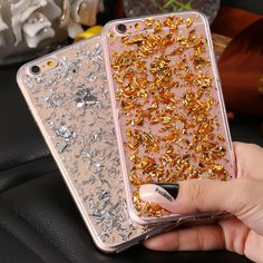 Bling Gold Sequin Clear TPU Case For iPhone 6 6S Plus 7 Plus 5 5S Transparent Foil Rubber Cover For Samsung S6 S7 Edge S5 Note 5
