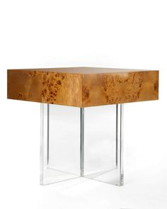 Jonathan Adler Bond End Table with Lucite Base | Clear Home Design Sofa Side Table, End Tables, Mid Century Modern Side Table, Wood Nightstand, Jonathan Adler, Mid-century Modern, Bond, Hardware, House Design