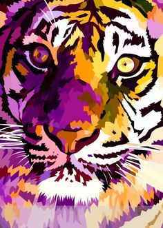 New tiger closeup by elviraNL - vector drawing (digital art) Tiger Painting, Painting & Drawing, Lsu Tigers Football, Art Watercolor, Tiger Art, Arte Pop, Grafik Design, Big Cats, Cat Art