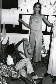 Pat Cleveland being fitted by Stephen Burrows.  Pat Cleveland was among the models and Stephen Burrows was one of the designers featured in ...
