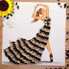 Sunflower seed dress by Edgar Artis