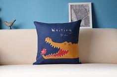 cotton linen Fabrics shade pillow pillow by yangyangDreamhouse Waiting For U, Kids Bedroom, Bedroom Ideas, Fabric Shades, Cotton Linen, Home And Living, Print Patterns, Cushions, Throw Pillows