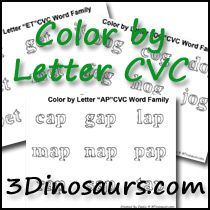 CVC Word Family Color by Letter with two types of pages available! - 3Dinosaurs.,com