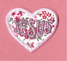 Jesus - Heart - Love - Floral Print - Embroidered Iron On Applique Patch фото