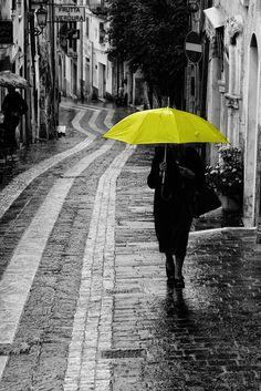 """Yellow umbrella"" by mario pignotti"