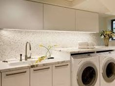 Contemporary Laundry Photos Small Laundry Room Design, Pictures, Remodel, Decor and Ideas - page 4 Laundry Room Lighting, Modern Laundry Rooms, Basement Laundry, Laundry Room Bathroom, Laundry Room Organization, Laundry Sinks, Bathroom Ideas, Bathrooms, Room Tiles