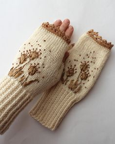 Hand Knitted Fingerless Gloves, Gloves & Mittens, Gift Ideas, For Her, Accessories, Winter Accessories, Ribbon Embroidery,Ivory, Brown