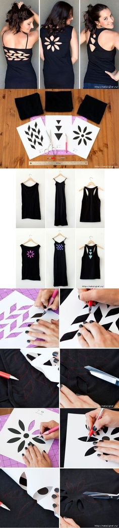 DIY Shirt Cutting also instead of leaving it open you can cut another color fabric to replace the cut out part, all you do is sew it on. http://doityourselfcollections.blogspot.com/search/label/diy%20shirt%20cutting