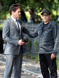 Mozzie and Neal filming last season of White Collar - Tumblr