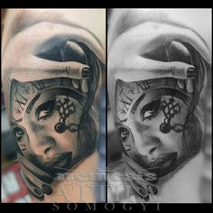 Portrait tattoo girl with clock