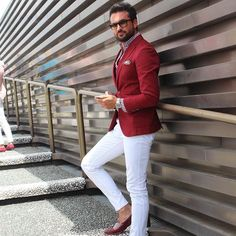 Street Style - red blazer and white pants with red loafers
