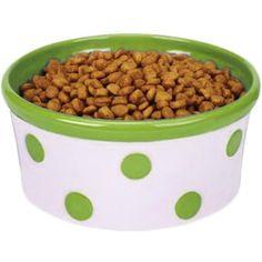 Cute Polka Dot Pet Dish in Pear Green.