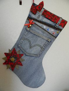 Christmas Denim Stocking Daddy is goung to make for tha boy's Quilted Christmas Stockings, Christmas Stocking Pattern, Xmas Stockings, Christmas Sewing, Christmas Hat, Handmade Christmas, Christmas Ornaments, Christmas Decorations, Crochet Christmas