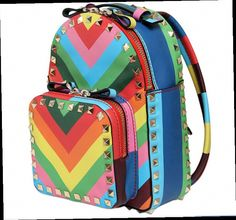 46.99$  Buy here - http://aliox2.worldwells.pw/go.php?t=32351783471 - Women Backpack Fake Designer Rainbow Valentine Bags PU Rivet Bags Famous Brand Backpack Female Bolsos Mochila Feminina Mochilas