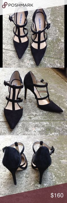 Charles David black suede strappy pointy toe heels Very modern & chic pair of Charles David's black suede strappy heels. Genuine suede..worn maybe twice. In like new condition. Charles David Shoes Heels