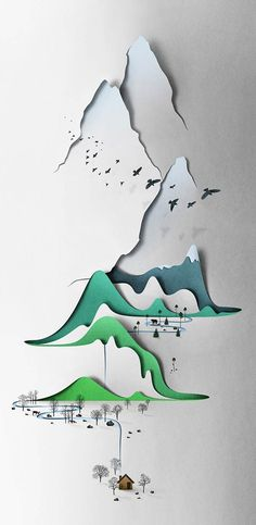 The beautiful creations of Estonian artist Eiko Ojala, mixing with a lot of talent the art of paper, hand drawing, photography, 3D software and digital retouching, to give relief and depth to his work, while keeping perfectly mastered minimalism.