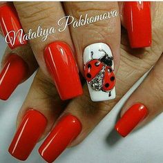 ongles , cheveux , maquillage Nails Design Red Beauty 28 Super Ideas Wedding Invitations on a Budget White Nail Designs, Beautiful Nail Designs, Nail Art Designs, Nails Design, Pedicure Designs, 3d Nails, Cute Nails, Acrylic Nails, Ladybug Nails