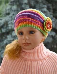 Knitted Children's hat/cap red pink cream fuchsia by DosiakStyle, $20.00