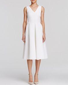 AQUA Dress - Neoprene Pleated Midi | Bloomingdale's