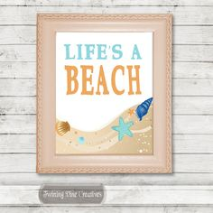Life's A Beach Quote, Printable Beach Wall Art, Kids Room Quote Decor by Twining Vine Creatives