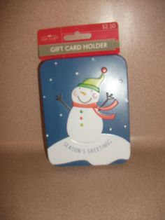 CHRISTMAS GIFT CARD HOLDER. SNOWMAN SEASON'S GREETINGS.GIVE A GIFT. NEW WITH TAG