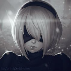 イラスト 900x900 with nier nier: automata yorha 2b こよりん ソロ 短い髪 前髪 monochrome close-up watermark blindfold 女の子 hairband android