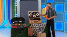 IT'S NEW PICNIC GEAR! THIS 32-PIECE COLLECTION INCLUDES A WICKER BASKET, CERAMIC PLATES, WINE GLASSES, AND MORE! PLUS, THIS 36-INCH COLLAPSIBLE PROPANE GRILL FEATURES PORCELAIN-COATED CAST-IRON GRATES. 1 WATERPROOF OUTDOOR BLANKET AND A LEATHER WINE TOTE INCLUDED. #PriceIsRight #Picnic #Spring